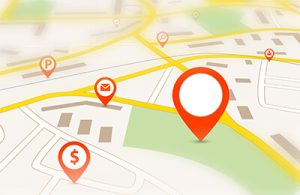 Navigation map with red empty pin pointer and tilt-shift effect  | Multimedia in the Courtroom