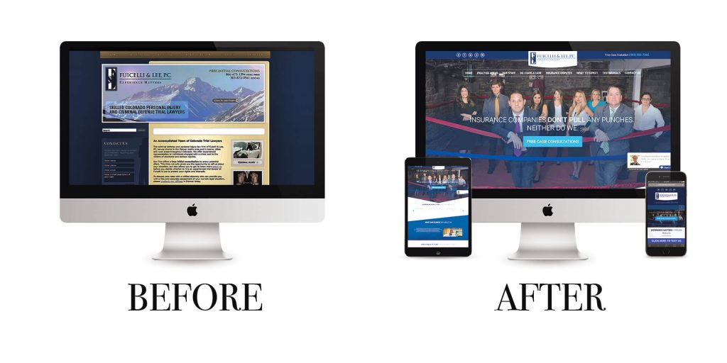 Before and after websites for the Denver personal injury attorneys at Fuicelli & Lee, P.C.