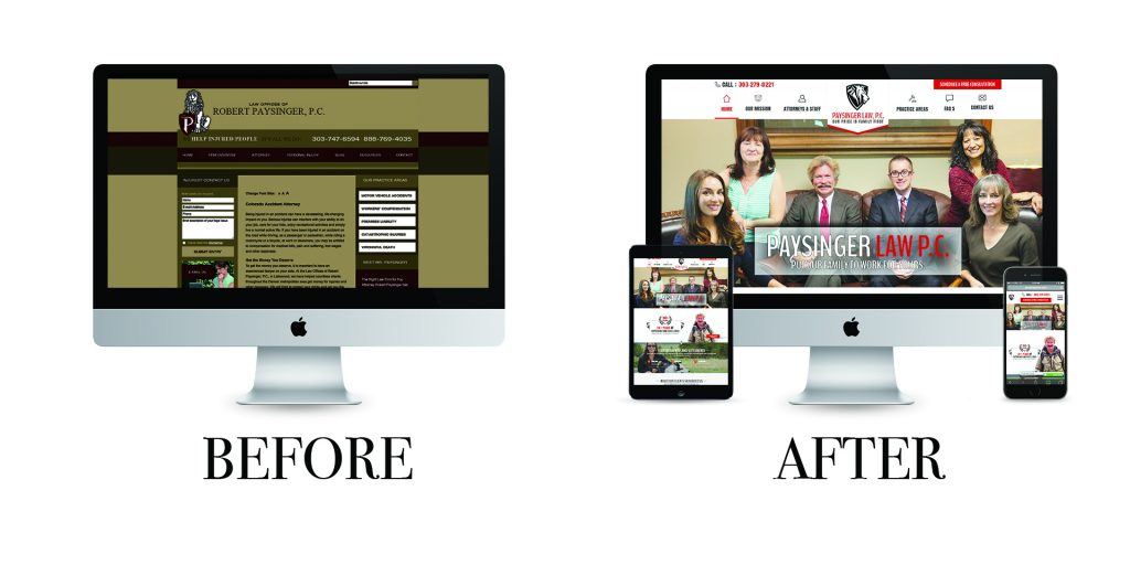 Before and After Websites for the Lakewood Personal Injury Attorneys at Paysinger Law, P.C.