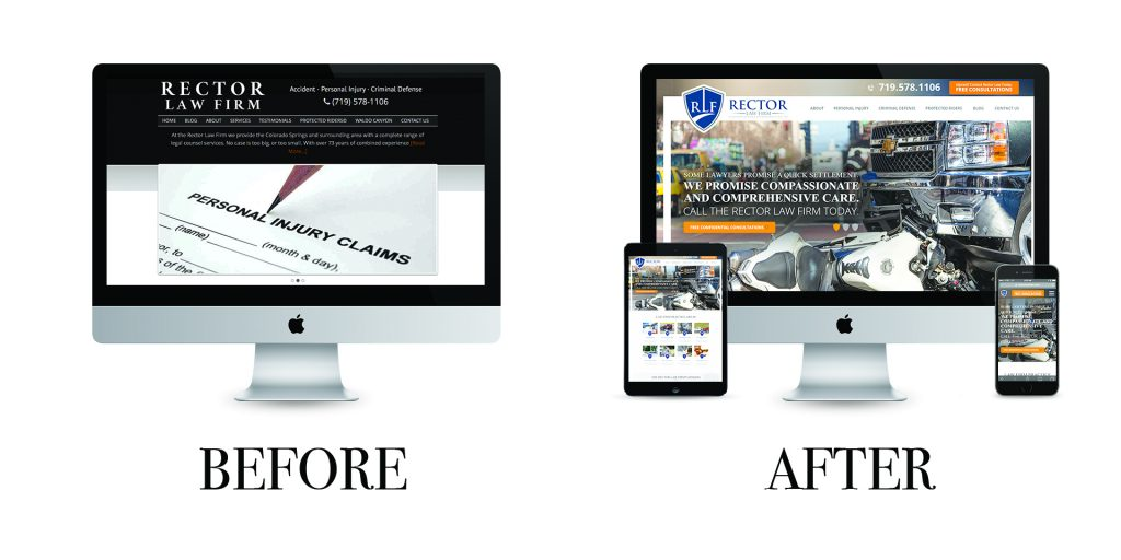 Before and after web sites for the Colorado Springs Personal Injury attorneys at the Rector Law Firm